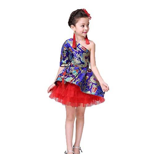 Ballett Chinesische Kostüm - HUO FEI NIAO Mädchen Zeigen Kleidung Dragon Brocade Rock chinesischen Kostüm Robe Puff Princess (Color : Blue, Size : 100)