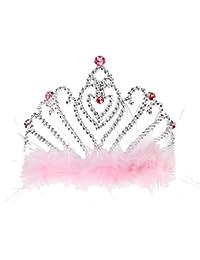 Bandas Para Cabeza de Plástico Niña de Pelo Accesorios Coronas de Plumas Rosa Princesa