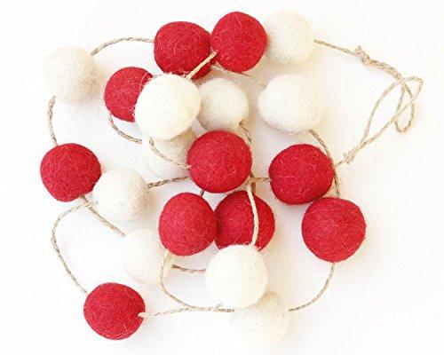 (De Kulture™ Felt Pom Pom Garlands Set of 2 (Red and Off White))