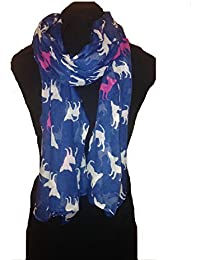 Blue with white and pink silhouette chihuahua dogs, Long Scarf, Soft Ladies Fashion London