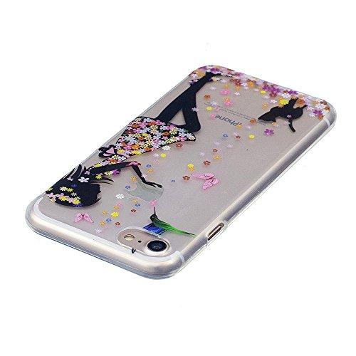 Cover iPhone 7 Plus 8 Plus, E-Unicorn Custodia Cover iPhone 7 Plus 8 Plus Trasparente con Disegni Gatto Carino Silicone Morbido TPU Gomma Morbida Colorate Ultra Slim Bumper Case Retro Elegante Modello Ragazza e Gatto