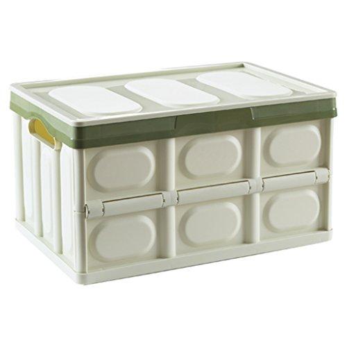 DWW-Panier de rangement Boîte de rangement en plastique pliable couverte en plastique boîte de rangement épaisse et durable de grande capacité ( Couleur : Vert )