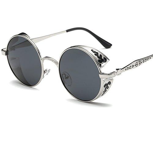 LANOMI Retro Runde Sonnenbrille Vintage Steampunk Stil Metallrahmen Polarisiert Damen Herren (silber Rahmen mit grauen Linsen)