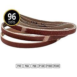 Lot de 96 bandes abrasives pour 13 x 457 Grain 16 x 40/60/80/120/180/240 pour Black & Decker