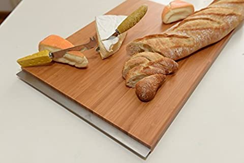 Large Design Bamboo Cutting Board - 43x30x2 cm - Thick Strong Bamboo Wood chopping board with handles