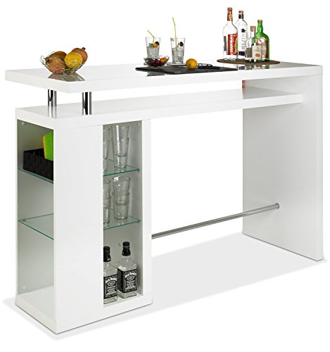 empfangstheke buero Bar Hausbar Cocktailbar Bartheke CAMARO | Dekor Weiß Hochglanz | Glaseinlegeböden