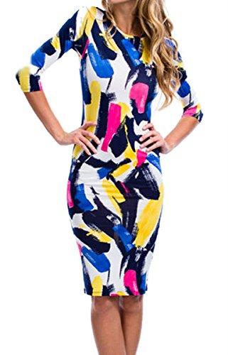 Dissa® SY60647 femme sexy robe bodycon Multicolore