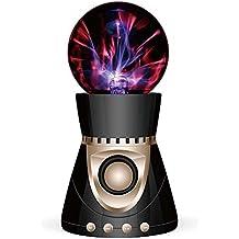 Altavoz Bluetooth portátil Mini Plasma bola luz Flash música altavoz portátil TFcard Play entrada auxiliar altavoz sonido negro