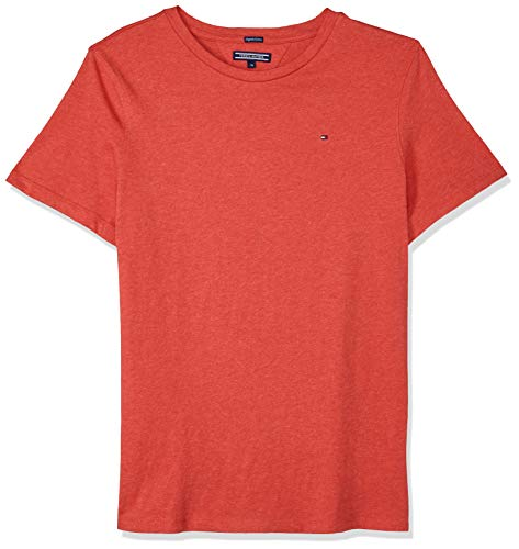 Tommy Hilfiger Jungen Boys Basic Cn Knit S/S T-Shirt, Rot (Apple Red Heather 601), 98 (Herstellergröße: 3)