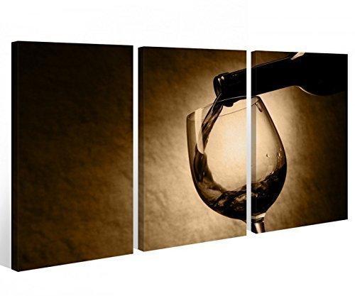 Leinwand 3 tlg. Weinflasche Glas Küche Wein Trinken Bild Bilder Wandbild 9A355 Holz - fertig gerahmt - direkt von Hersteller, 3 tlg BxH:120x80cm (3Stk 40x 80cm)