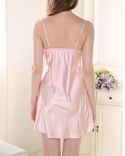 Femmes Chemise de Nuit Baydoll Lingerie en Satin Dentelle Pyjamas Nuisettes Robes Pink 1