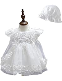 2Pcs satinado Puffed Falda Encaje Baby Girl Christening vestido de fiesta con Bonnet 0425
