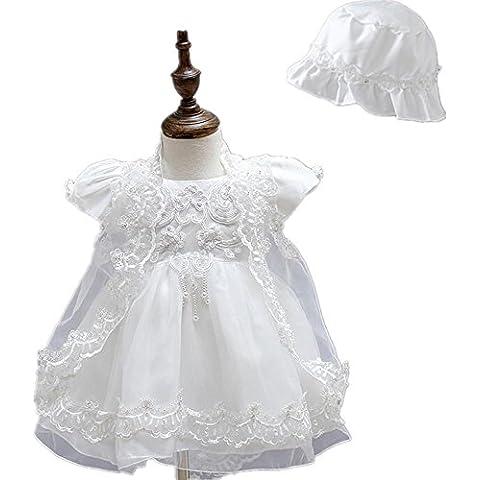 2pcs bombato satinato Baby Girl battesimo partito pizzo gonna abito con cofano 0425