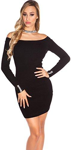 Strickkleid mit Halsschnürung & Strass * 34 36 38 * Longpullover Kleid langarm Damen Abendkleid Minikleid (900200 ISF9039 schwarz)