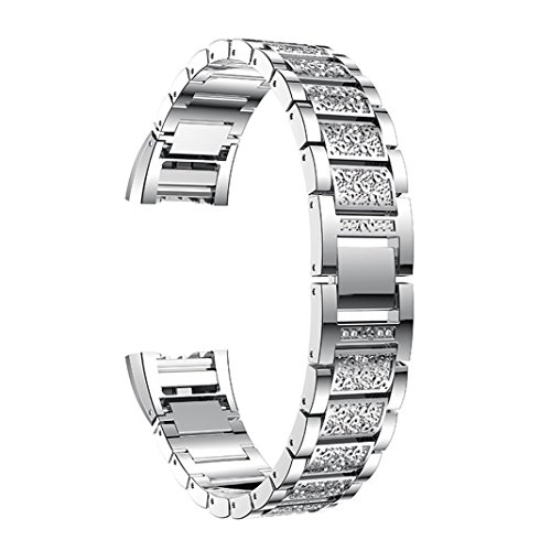 Armband für Fitbit Charge 2 Sliber,Uhrenarmband Fitbit Charge 2 Frauen Armbänder Aottom Kristall Metall Edelstahl Ersatz Uhrenarmband Ersatzarmband Smartwatch Armband Uhren Fitness Tracker Zubehör mit Metallschließe für Fitbit Charge 2