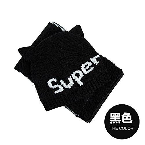 FQG*Cappelli Sciarpe due kit marea bambini bella calda kit maglia cappuccio di testa per ragazzi e ragazze Kit , nero