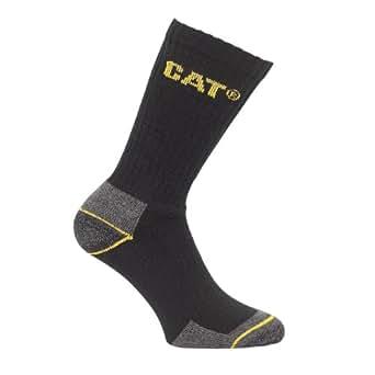 Caterpillar Crew Work Sock - 3 pair pack / Mens Socks (11-14) (Black)