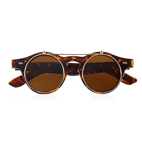 vcbbvghjghkhj-UK Klassische Steampunk Goth Brille Runde Flip Up Sonnenbrille Runde Brillen-Leopard