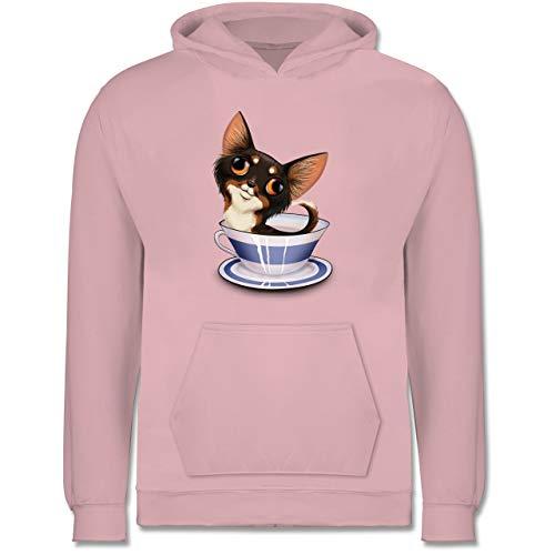 Tiermotive Kind - Teacup Chihuahua - 7-8 Jahre (128) - Hellrosa - JH001K - Kinder Hoodie Cocker Spaniel T-shirt Sweatshirt