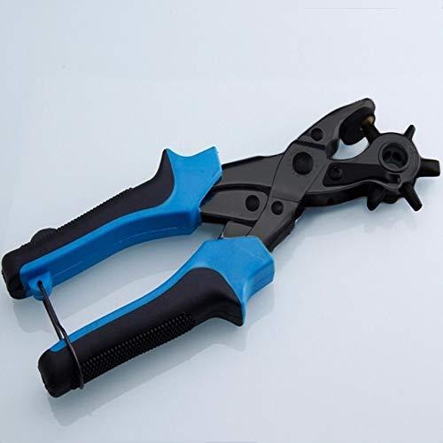Für die Schule Wr Multifunktionale Gurt-Loch-Puncher mit 6 Löchern Leder Locher for Leder Gürtel Karten Papier, Stoff (rot) (Farbe : Blue)