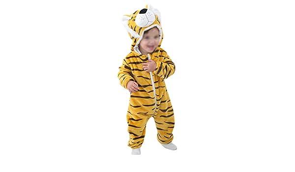1pc B/éb/é Combinaison Forme Animal Barboteuse D/éguisement Enfant Hiver Automne Chaud Doux et Confortable V/êtements Rayures Jaunes Cdet