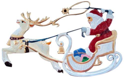 Zinngeschenke Nikolaus im Rentierschlitten handbemalt aus Zinn (HxB) 8,0 x 5,5 cm, Christbaumschmuck, weihnachtlicher Zierschmuck