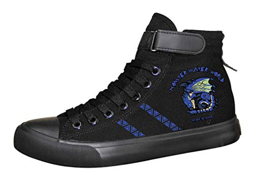 Cosstars Monster Hunter Jeu Unisexe Chaussures en Toile à Lacets Baskets de Mode Sneakers Plimsolls 42 2/3 EU Noir 12
