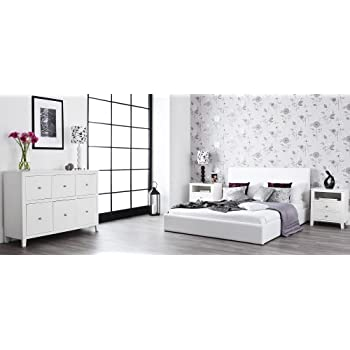 Brooklyn White 3 Drawer Chest, Large white chest of drawers, dovetail joints, metal runners, ASSEMBLED