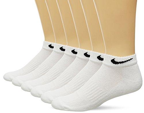 Weißes Athletisches Band (Neue Nike Unisex 6 Pack Band Baumwolle Low Cut Socken Weiß/Schwarz Groß)
