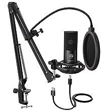 FIFINE Studio Microfono a condensazione USB Computer Microfono PC Kit con Braccio a Forbice Regolabile Supporto Antiurto per Strumenti Voice Overs Registrazione Podcasting Youtube Gaming - T669