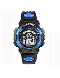 Malloom® moda impermeable Niños Niñas natación deportes silicona digital reloj de pulsera (Azul)
