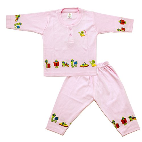 Henry Collar Design Snack Printed Full Sleeves T-Shirt With Full Pant(Pink)  available at amazon for Rs.380