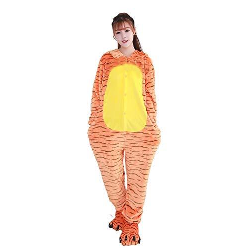 DUKUNKUN Erwachsene Pyjamas Tiger Pyjamas Kostüm Flanell Stoff Cosplay Für Tier Nachtwäsche Cartoon Halloween Festival/Urlaub/Streifen/Weihnachten,L