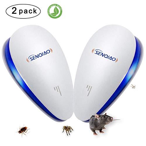 Control ultrasónico de plagas, repelente electrónico contra insectos SENQIAO, protección interior contra cucarachas, ratones, moscas, mosquitos, hormigas, arañas, pulgas, etc.