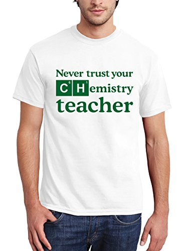 clothinx Herren T-Shirt Never trust your Chemistry Teacher Weiß mit grünem Aufdruck