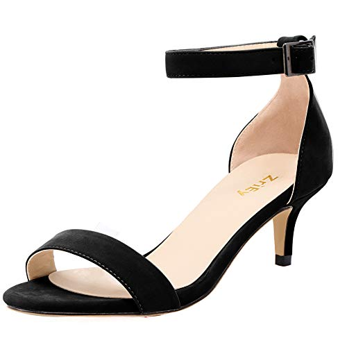 DULEE Damen Mitte Kitten-Heel Strap Peep Toe Sandalen Büroarbeit Abendschuhe,Schwarz 42 EU Ankle Strap Peep Toe Sandalen