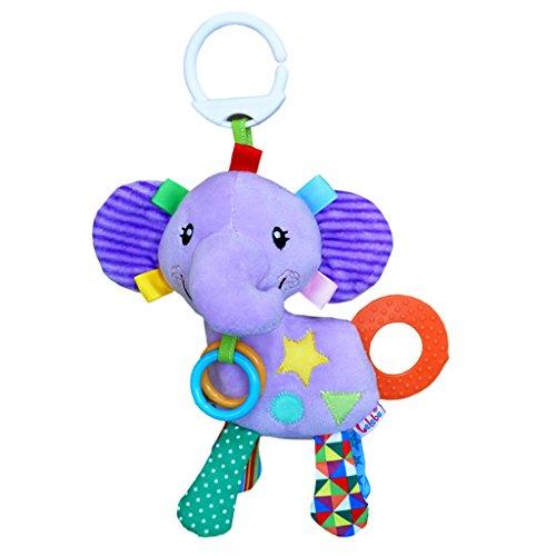 Gazechimp hochwertiges Baby Kleinkind Spielzeug – Plüsch Tiermodell Rasseln Glocken – Sicherheit Umweltschutz – Greifling Anhänger auf Kinderbett und Kinderwagen – Elefanten