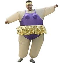 LaoZan Traje de sumo wrestler Disfraz de Halloween Traje inflable Traje de Sumo adulto Morado