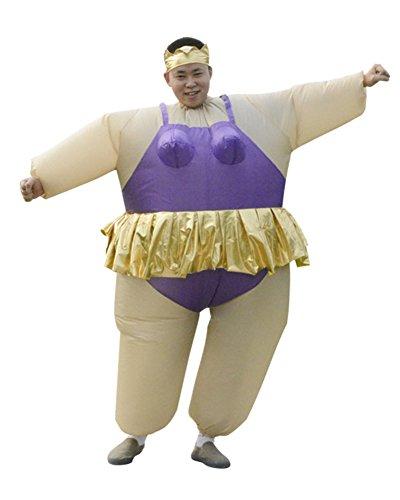 LaoZan Sumo Wrestler Halloween Aufblasbares Kostüm Sumo-Kostüm für Erwachsene Violett (Sumo-halloween-kostüm)