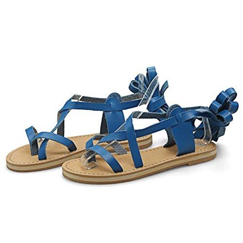 COOLCEPT Femmes Mode Lacets Sandales Orteil ouvert Appartement Chaussures Bleu