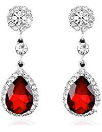 7584e4d7932d plata Plated Yazilind deslumbrante Pera corte rojoondo Pendientes Circonita  perfecto cuelga cúbicos