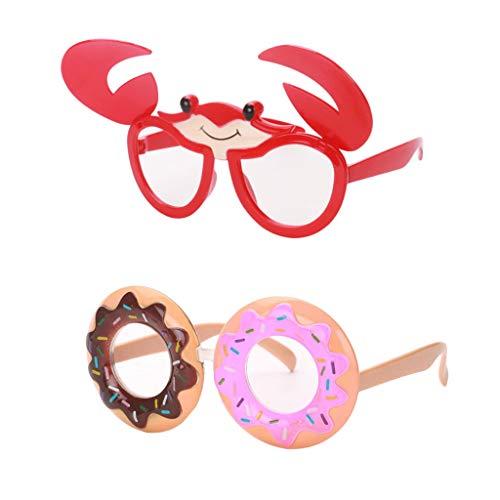 Baoblaze 2er Set Lustige Brille Donut + Krabbe Sonnenbrille Partybrille Spaßrille Funbrille für Herren Damen Kinder