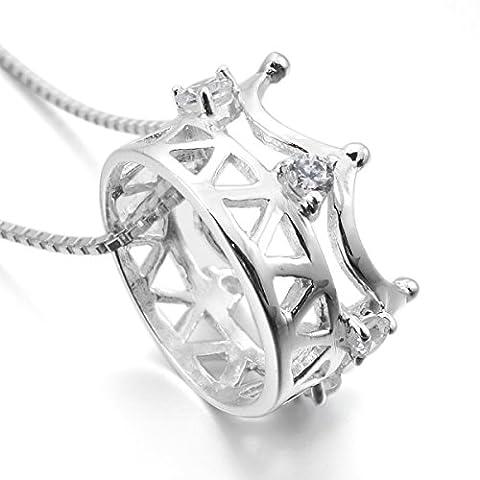 MunkiMix 925 Sterling Silber Anhänger Halskette CZ Zirkon Zirkonia Silber Krone Elegant Damen mit 46cm Sterling Silber Kette