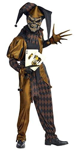 Plus Joker Size Kostüme (Wilder Joker Clown Skelett Kostüm Herren Gr.)