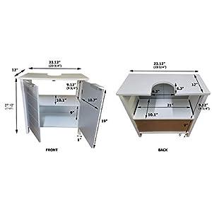 TENDANCE Mueble Encima del Lavabo o Fregadero – 2 Puertas y 1 estantería – Color Blanco y Gris