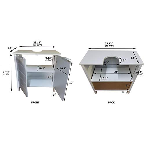TENDANCE Meuble Dessous de lavabo ou Evier - 2 Portes et 1 étagère - Coloris Blanc et Gris