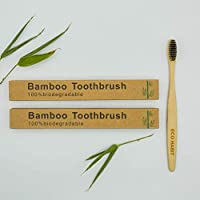 2 Eco Habit Bamboo Toothbrushes Pak of 2 Natural, Sustainable, Biodegradable, Mediu/Soft, Adult/Child
