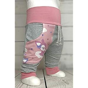 Baby Pumphose mit Tasche Wolkenkitz Grau Rosa handmade Puschel-Design
