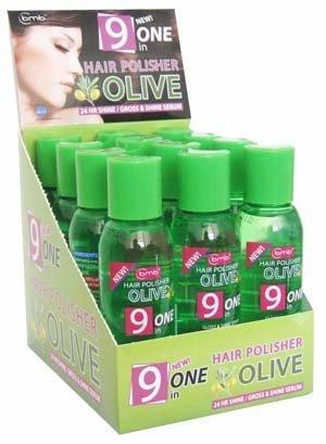 BMB Hair Polisher Olive 9 in One Gloss & Shine Serum Hydrating / Polishing 2 oz - 12 Pack by Blue Moon Beauty (Polishing Gloss Shine)