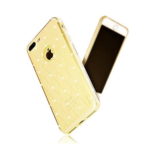 MOMDAD iPhone 7 Plus Custodia Case Cover iPhone 7 Plus Trasparente Custodia iPhone 7 Plus 5.5 Pollice TPU Gel Silicone Bumper Soft Case Cover Diamant-oro